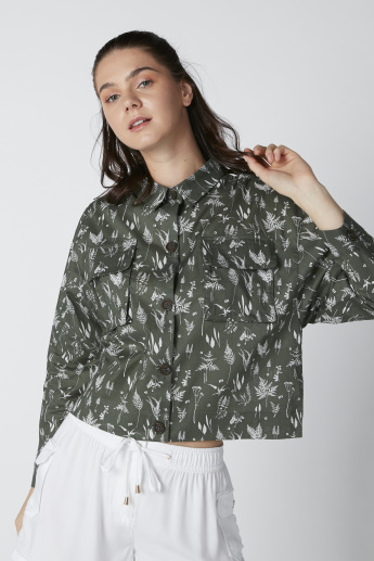 Printed Shirt in Relaxed Fit with Chest Pocket and Long Sleeves