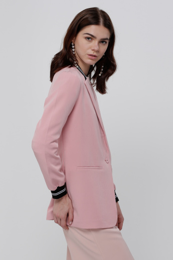 Welt Pocket Jacket with Button Placket and Long Sleeves
