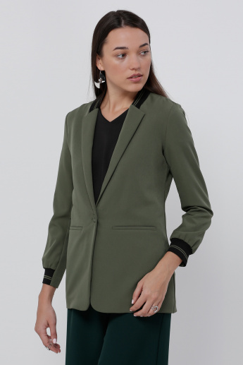 Long Sleeves Blazer with Ribbed Collar And Cuff Detail