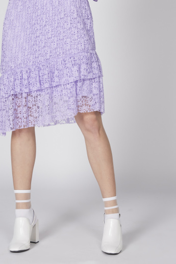 Lace Detail Midi Skirt with Asymmetric Hem and Frills