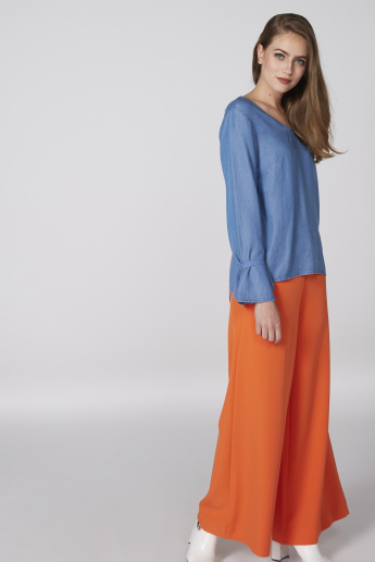 Full Length Palazzo Pants with Pocket Detail and Elasticised Waistband