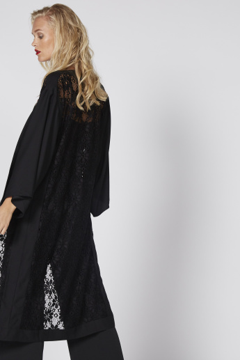 Open Front Shrug with Long Sleeves and Lace Detail