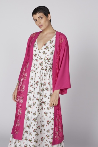 Lace Detail Longline Jacket with Kimono Sleeves