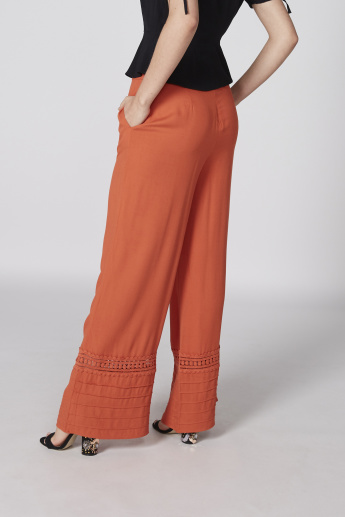 Full Length Pallazo Pants with Lace Detail and Elasticised Waistband