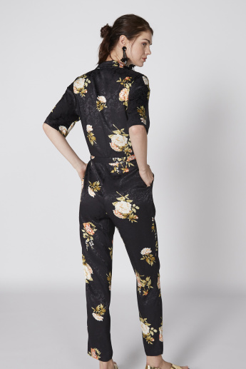 Printed Jumpsuit with Short Sleeves and Pocket Detail