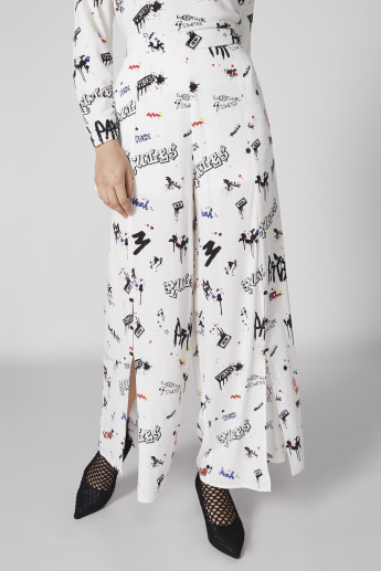 Printed Palazzo Pants with Slit Detail