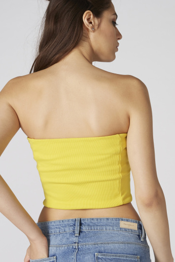Ribbed Crop Top with Zip Detail
