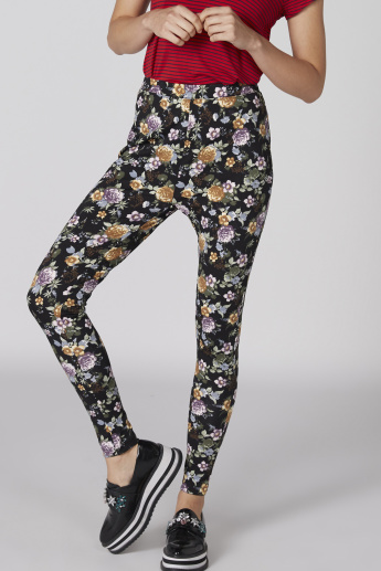 Printed Full Length Leggings with Elasticised Waistband