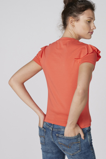 Frill and Mesh Detail Top with Short Sleeves