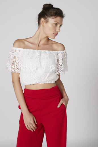 Off-Shoulder Crop Top with Lace Detail