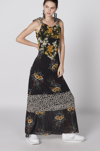 Floral Printed Sleeveless Maxi Dress with Tie Up