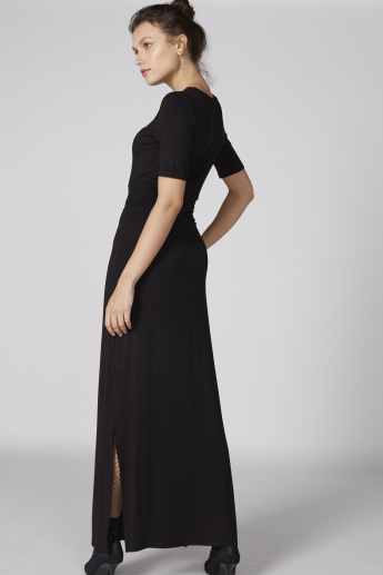 Smocking Detail Maxi Dress with Round Neck and Side Slit