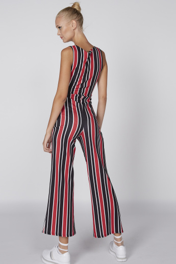 Striped Sleeveless Bustier Jumpsuit with Tie-Up Detail