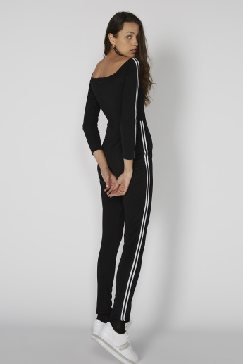 Boat Neck Jumpsuit with Tape Detail