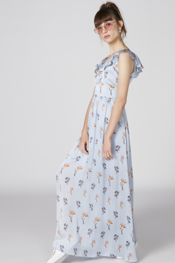 Printed Sleeveless Maxi Dress with Ruffle Detail