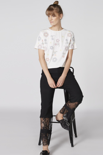 Printed Top with Crew Neck and Short Sleeves