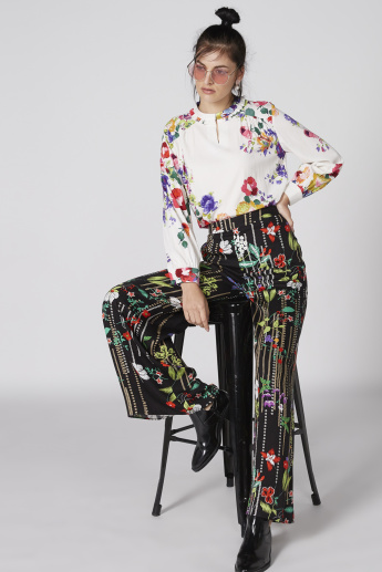 Floral Printed Palazzo Pants with Elasticised Waistband