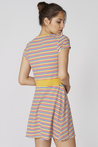 Striped Mini Dress with Round Neck and Short Sleeves