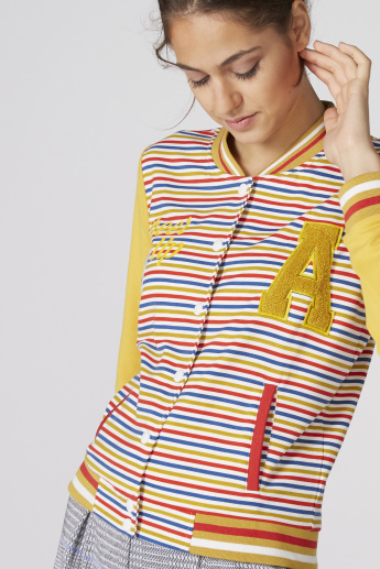 Striped Baseball Jacket with Long Sleeves and Button Closure