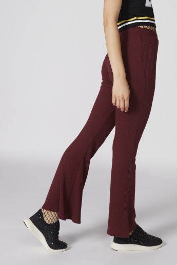 Fit and Flare Ribbed Pants with Elasticised Waistband