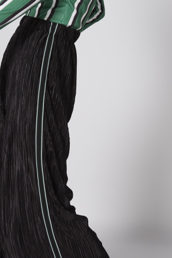 Pleated Palazzo Pants with Elasticised Waistband and Tape Detail