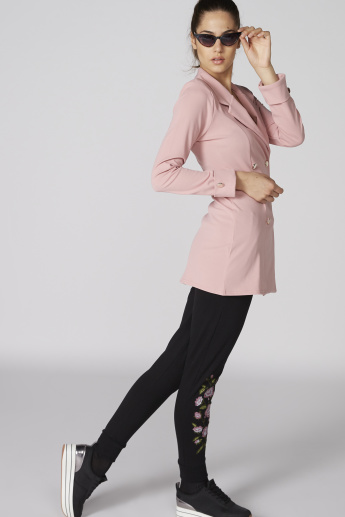 Trench Jacket with Long Sleeves and Button Detail