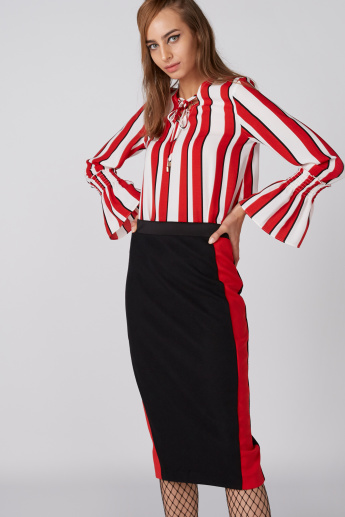 Pencil Midi Skirt with Side Tape and Slit Detail