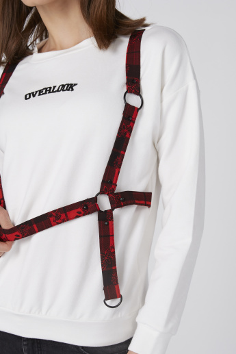 Printed T-Shirt with Long Sleeves and Suspenders