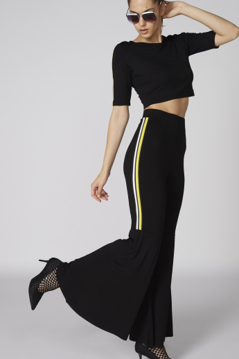 Full Length Flared Pants with Elasticised Waistband and Tape Detail
