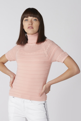 Textured Top with High Neck and Short Sleeves