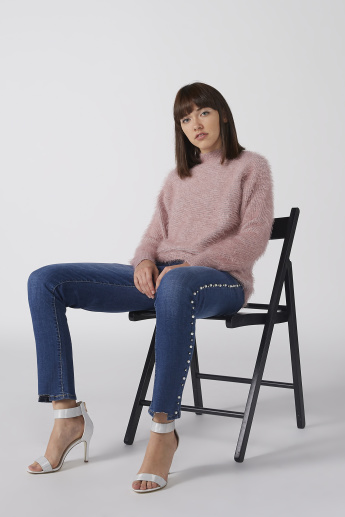 Textured Sweater with Funnel Neck and Long Sleeves