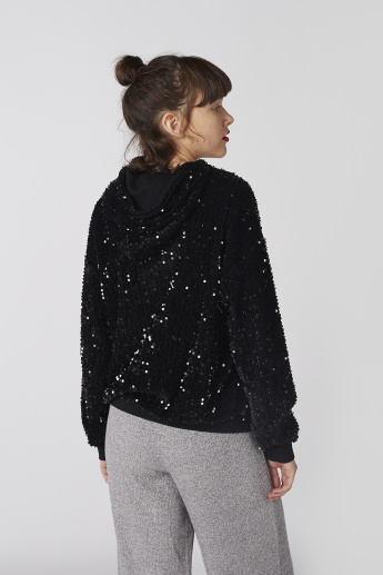 Embroidered Sweatshirt with Sequin Detail and Hood