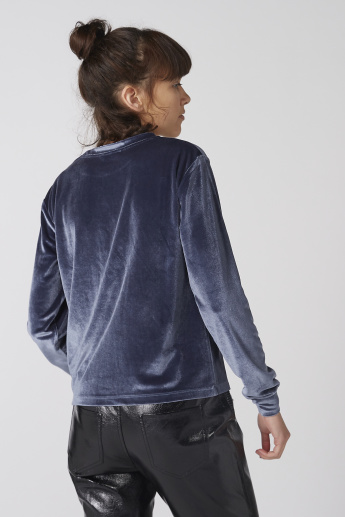 Textured Top with Crew Neck and Long Sleeves