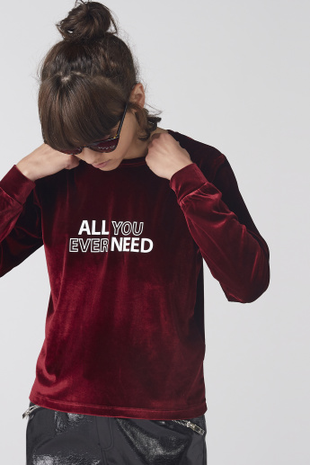 Textured T-Shirt with Crew Neck and Long Sleeves