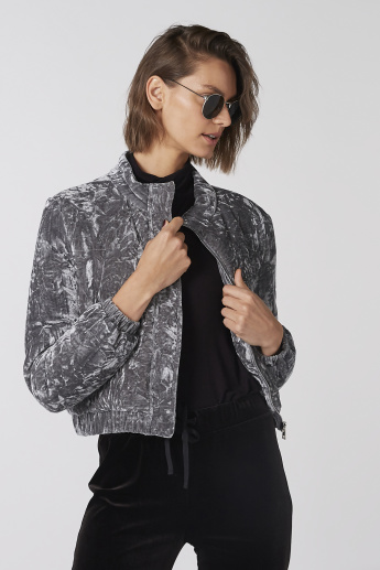 Textured Jacket with Long Sleeves and Pocket Detail