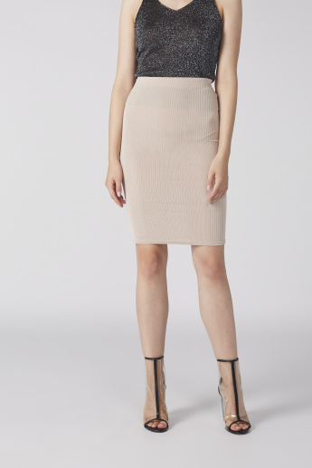Ribbed Midi Bodycon Skirt