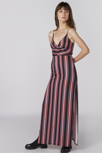 Striped Maxi Dress with Adjustable Spaghetti Straps and Slit Detail