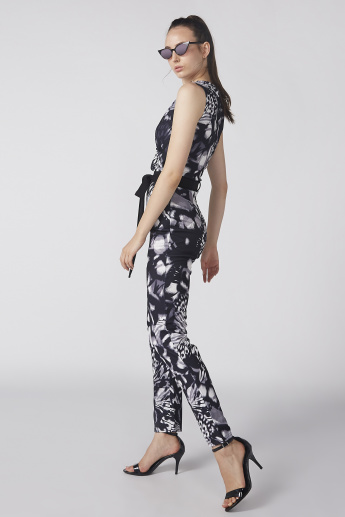 Printed Sleeveless Jumpsuit with V-Neck and Tie Up Belt