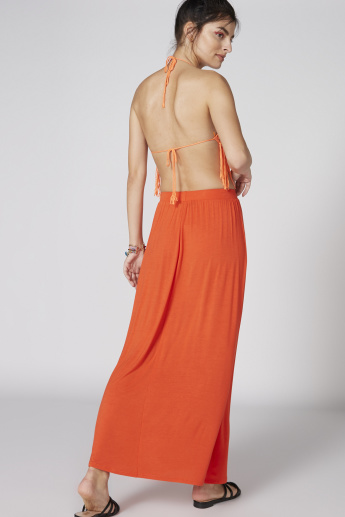 Pleated Maxi Skirt with Elasticised Waistband