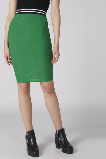 Ribbed Midi Bodycon Skirt with Elasticised Waistband