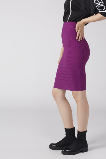 Textured Midi Bodycon Skirt with Elasticised Waistband