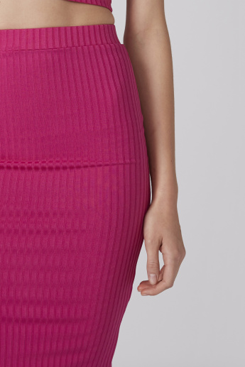 Ribbed Bodycon Skirt with Elasticised Waistband