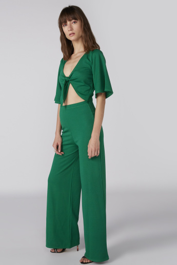 Full Length Jump Suit with Flared Sleeves and Knot Detail
