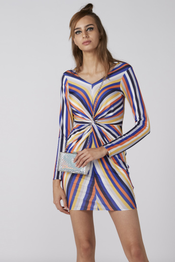 Striped Mini Bodycon Dress with Long Sleeves