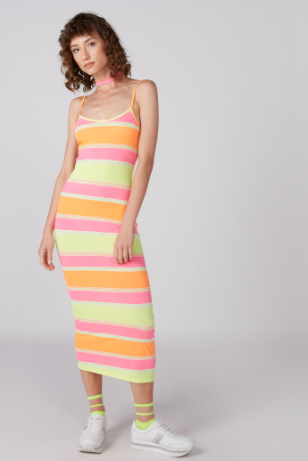 Striped Bodycon Dress with Spaghetti Straps