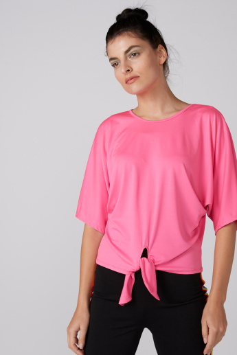 Round Neck Top with Extended Sleeves and Tie Up