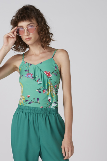 Printed Top with Spaghetti Straps and Frill Detail
