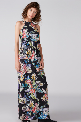 Printed Maxi Dress with Halter Neck
