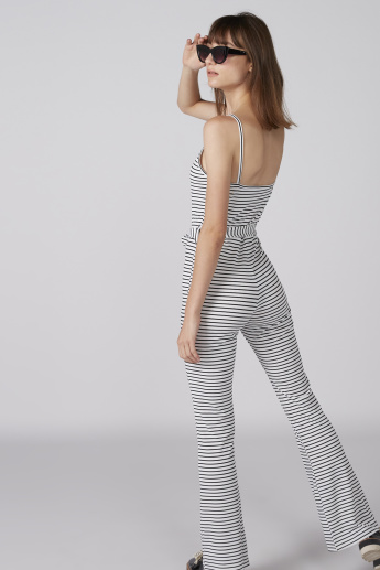 Striped Jumpsuit with Spaghetti Straps and Tie Up Belt