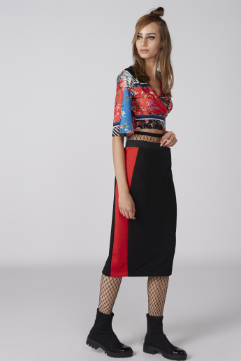 Floral Printed Crop Top with Flared Sleeves and Tie Ups